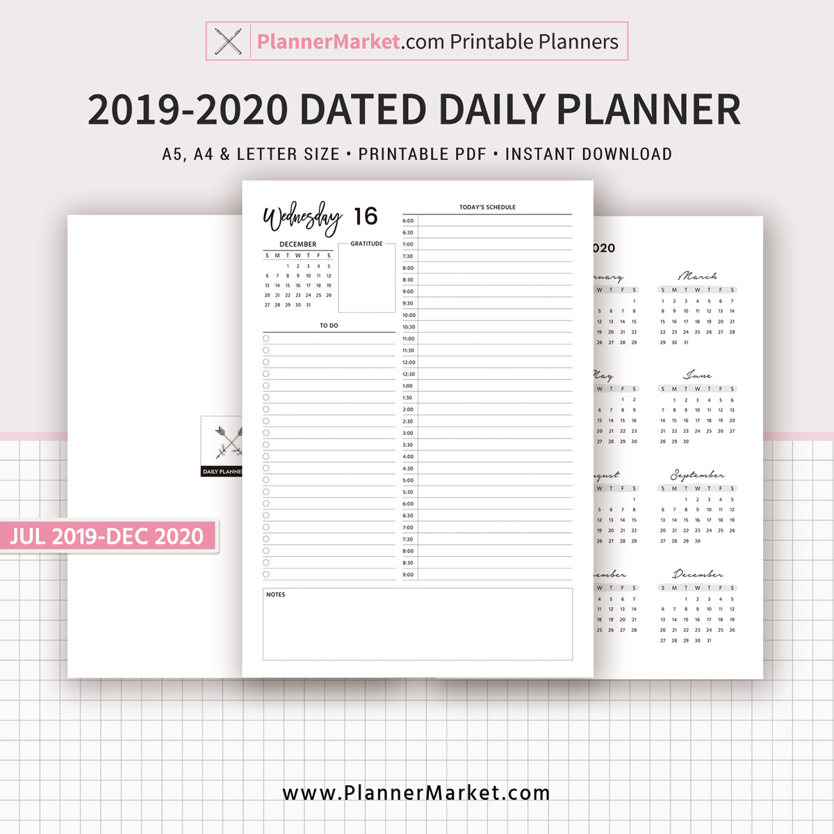 It is a photo of Dynamic 2020 Daily Planner Printable