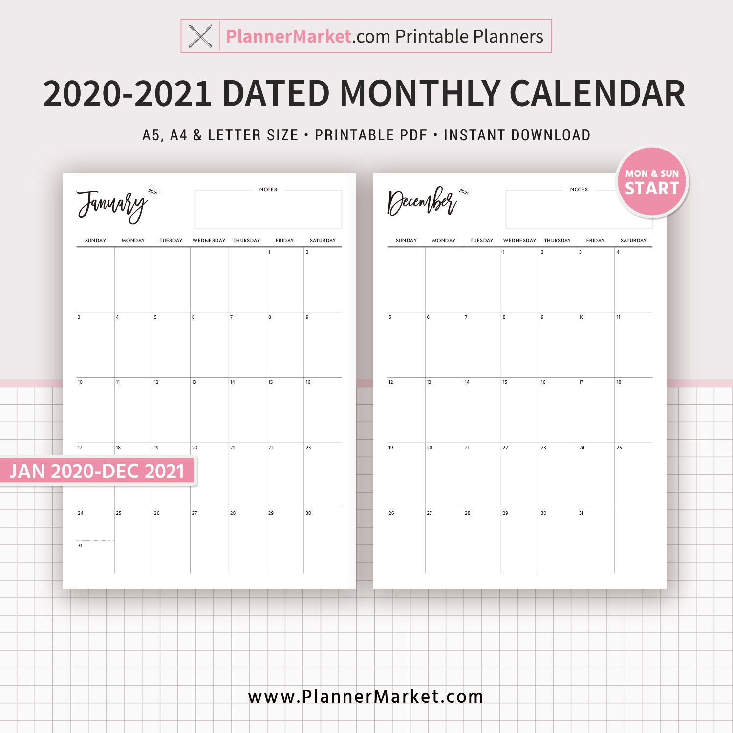 2020 2021 Monthly Calendar, Monthly Planner, Printable Planner